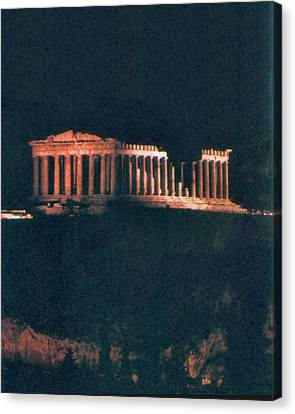 Parthenon At Night Canvas Print by Troy Caperton