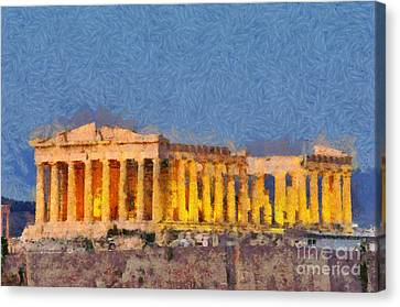 Parthenon Temple During Dusk Time Canvas Print by George Atsametakis
