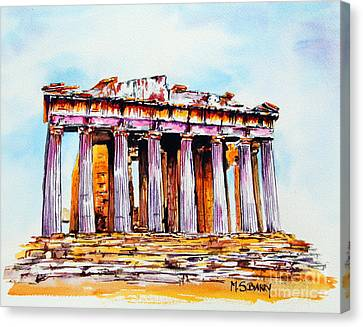 Canvas Print featuring the painting Parthenon by Maria Barry