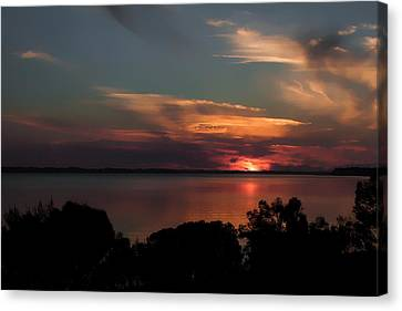 Panama City Beach Canvas Print - Partial Eclipse Sunset by Debra Forand