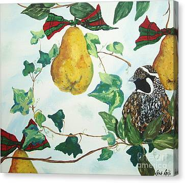 Partridge And  Pears  Canvas Print by Reina Resto
