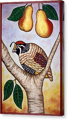 Partridge In A Pear Tree Canvas Print by Linda Mears