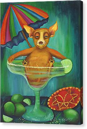 Party Animal  Ay Chihuahua Canvas Print by Debbie McCulley
