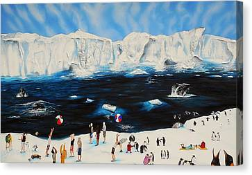 Party At Antarctic Canvas Print