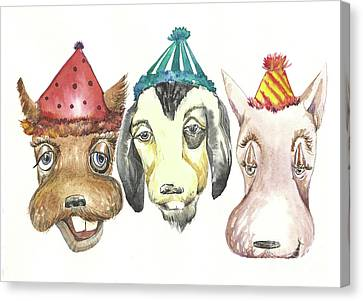 Party Dogs Canvas Print by Donna Acheson-Juillet