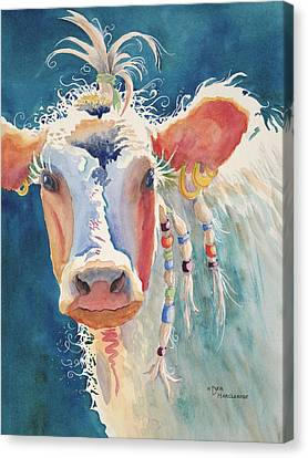 Party Gal - Cow Canvas Print by Deb  Harclerode