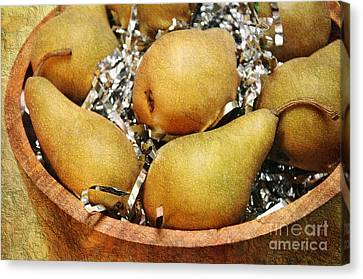 Wooden Bowl Canvas Print - Party Pears by Andee Design