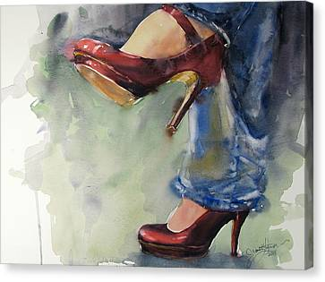 Party Shoes Canvas Print by Judith Levins