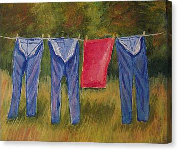 Pa's Trousers Canvas Print by Belinda Lawson