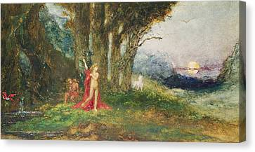 Pasiphae And The Bull, C.1876-80 Wc & Gouache On Paper Canvas Print