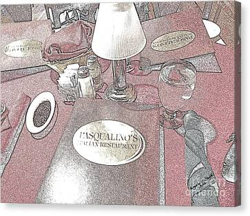 Canvas Print featuring the digital art Pasqualino's Restaurant Setup by Angelia Hodges Clay