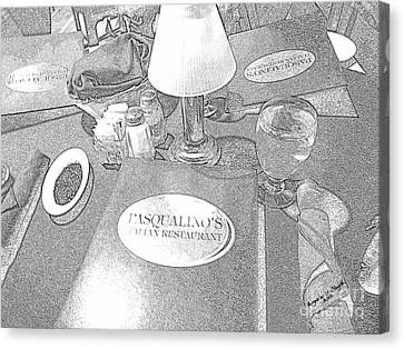 Canvas Print featuring the digital art Pasqualino's Resturant Setup by Angelia Hodges Clay