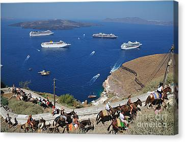 Passengers From Cruise Ships On The Way To Fira City Canvas Print