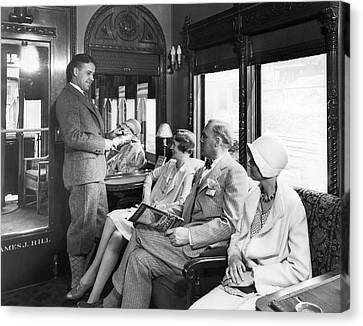 Passengers On A Train Canvas Print by Underwood Archives
