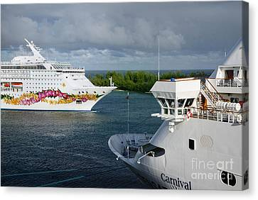 Passing Cruise Ships Canvas Print by Amy Cicconi