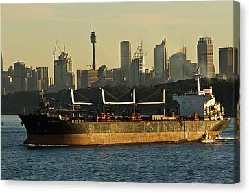 Canvas Print featuring the photograph Passing Sydney In The Sunset by Miroslava Jurcik