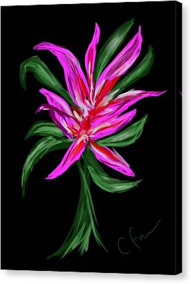 Canvas Print featuring the digital art Passion Flower by Christine Fournier