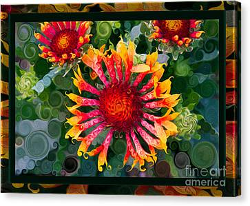 Passionate Pinwheels And Blooming Abstract Flower Art Canvas Print by Omaste Witkowski