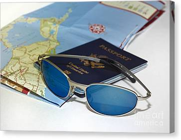 Passport Sunglasses And Map Canvas Print by Amy Cicconi