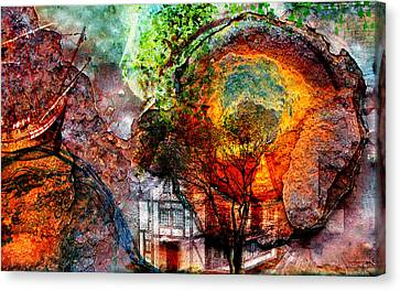 Canvas Print featuring the mixed media Past Or Future? by Ally  White