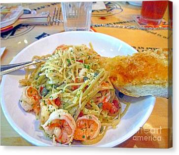 Pasta And Shrimp Canvas Print