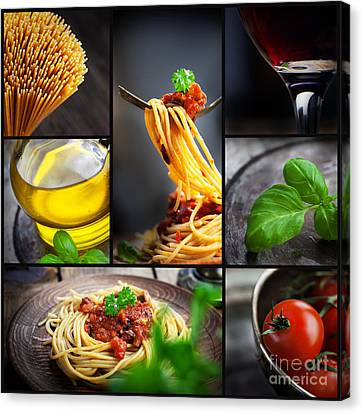 Pasta Collage Canvas Print by Mythja  Photography