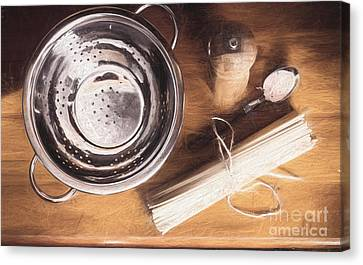 Pasta Preparation. Vintage Photo Sketch Canvas Print by Jorgo Photography - Wall Art Gallery