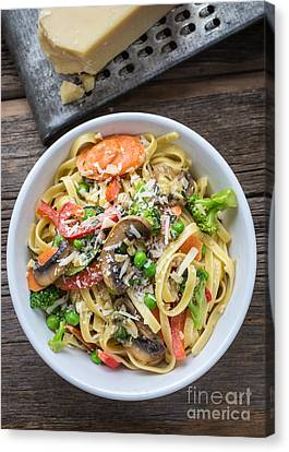 Cheese Canvas Print - Pasta Primavera Dish by Edward Fielding