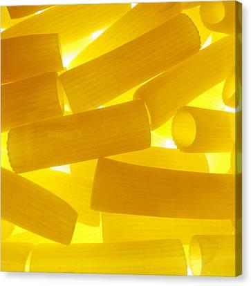 Pasta Rigatoni Yellow Transparent Macro Canvas Print by Cindy Xiao