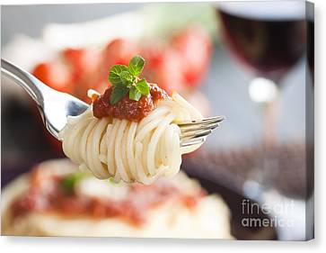 Pasta With Ingredients Canvas Print by Mythja  Photography