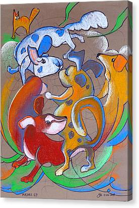 Dog Canvas Print - Pastel 69 - Dog Play by Steve Emery