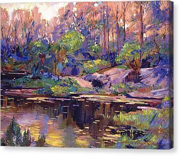 Pastel Lake At Dawn Canvas Print by David Lloyd Glover