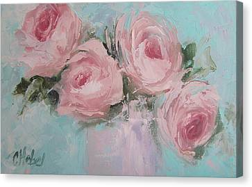 Pastel Pink Roses Painting Canvas Print by Chris Hobel