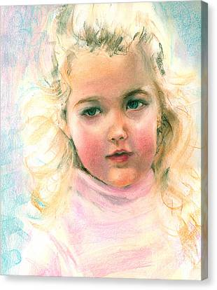 Pastel Portrait Of An Angelic Girl Canvas Print by Greta Corens