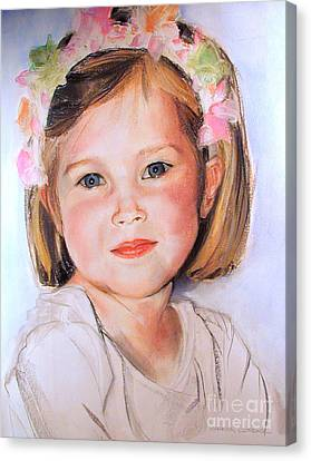 Pastel Portrait Of Girl With Flowers In Her Hair Canvas Print by Greta Corens