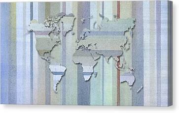 Pastel Stripes World Map Canvas Print