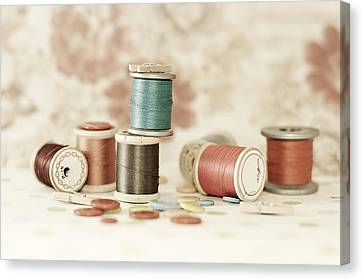 Canvas Print - Pastel Threads And Buttons by Sofia Walker
