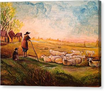 Canvas Print featuring the painting Pastoral Landscape by Egidio Graziani