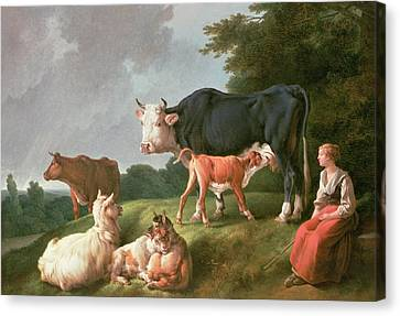 Pastoral Scene Oil On Canvas Canvas Print by Jean-Baptiste Huet