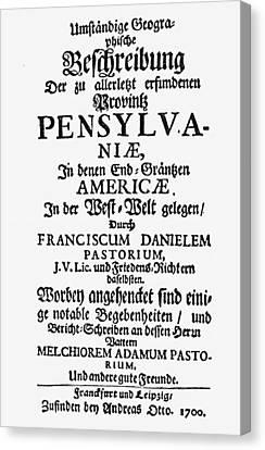 Pastorius Pennsylvania Canvas Print by Granger