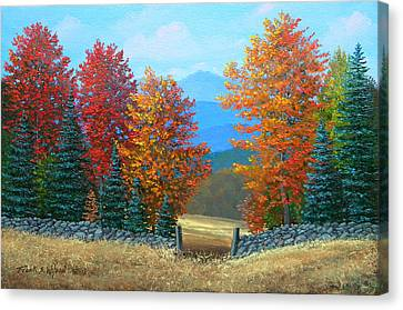 Pasture Gate In Autumn Canvas Print by Frank Wilson