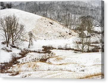 Pasture Hills And Snow Canvas Print by Thomas R Fletcher