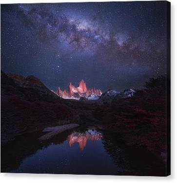 Snowy Night Night Canvas Print - Patagonia Autumn Night by Yan Zhang