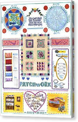 Traditional Quilt Canvas Print - Patchwork by Julia Rowntree