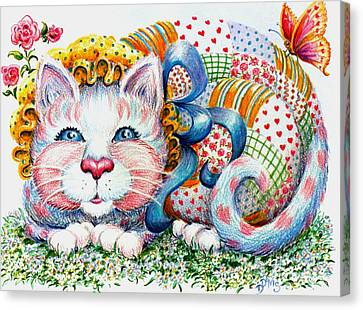 Canvas Print featuring the drawing Patchwork Patty Catty by Dee Davis