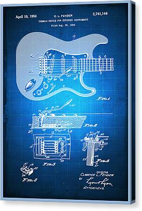 Technical Canvas Print - Fender Guitar Patent Blueprint Drawing by Tony Rubino