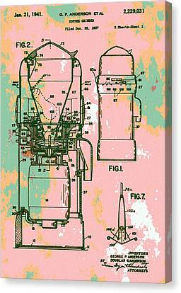 Patent Art Coffee Grinder Canvas Print by Dan Sproul