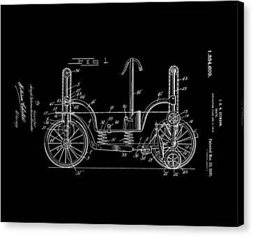 Patent Art Guindon 1920 Roller Skates Bw Canvas Print