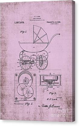 Patent Art Lark Baby Carriage Pink Canvas Print by Lesa Fine