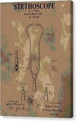 Concern Canvas Print - Patent Art Stethoscope by Dan Sproul